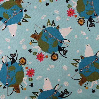adlico-coton-terre-animaux-monde-ours-bleu