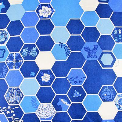 artgallery-coton-alveole-bleu-blue-velo-abeille-fleur