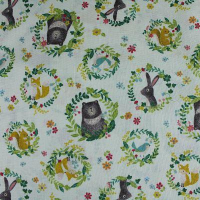 kokka-rabbit-coton-vert-medaillon-fleur-animaux