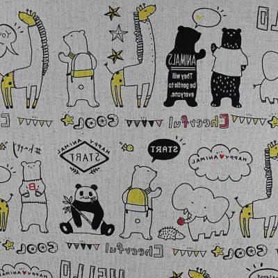 kokka-coton-lin-animaux-ours-panda-noir-jaune