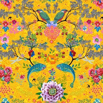 odilebailloeul-coton-jaune-poisson-oiseau-bleu-fleur-rose-blanc-rouge