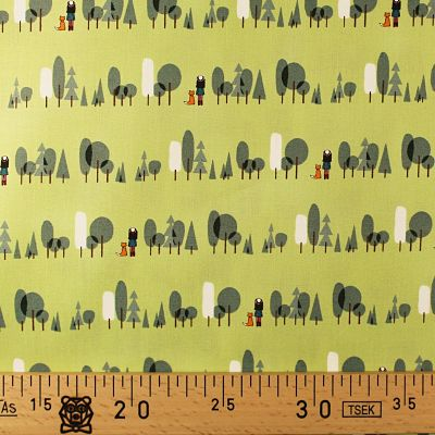 michael-miller-coton-foret-renard-fille-vert-arbre