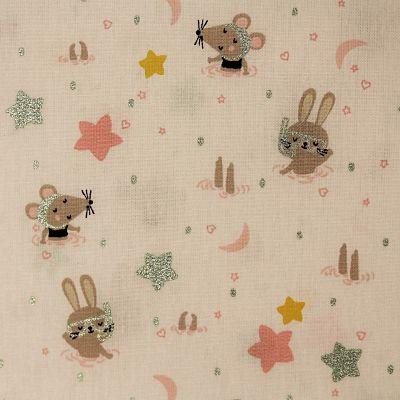coton-swimming-animals-blanc-glitter-menthe-piscine-lapin-souris-etoile-lune