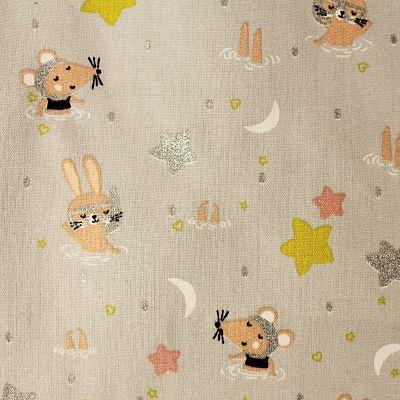 coton-swimming-animals-etoile-lune-lapin-souris-gris