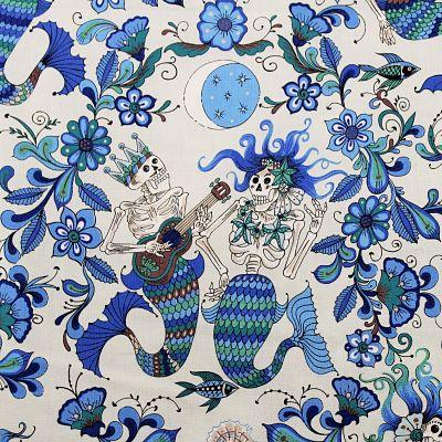 adlico-coton-esqueletos-del-mar-squelette-mer-mermaid-bleu-floral