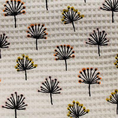 nid-abeille-coton-eponge-blanc-pissenlit-jaune-orange