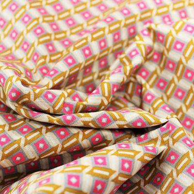 petit-pan-coton-tahar-gris-beige-rectangle-rose-fluo