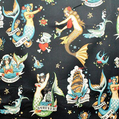 alexander-henry-coton-forget-sirene-mermaid-old-school-vintage-marin-noir