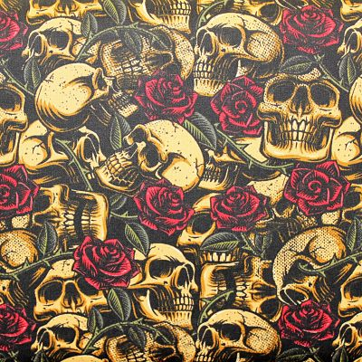 coton-skulls-crane-beige-tatoo-rose-rouge-old-school