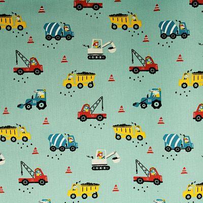 coton-construction-vehicule-chantier-camion-pelleteuse-grue-vert-lagon