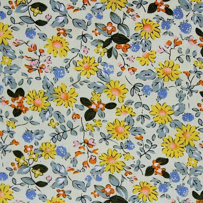 coton-fleurs-jaune-bleue-feuilles