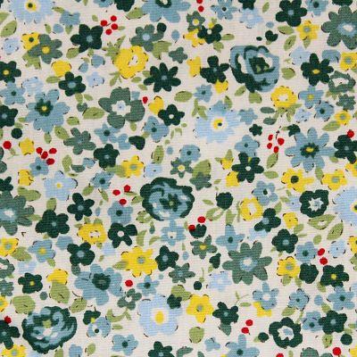 coton-fleurs-verts-jaunes-bleu-ciel
