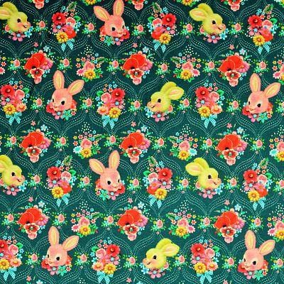 jersey-bio-gots-fiona-hewitt-lapins-happy-bunnies-bleu-canard-fleurs