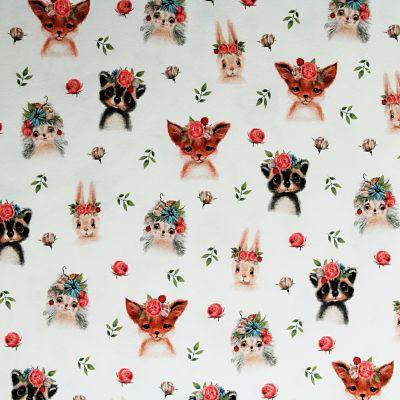 jersey-bio-gots-blanc-woodland-animal-herisson-renard-raton-lapin-fleurs