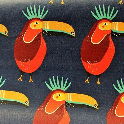 ameublement-coton-oiseau-toucan-marine