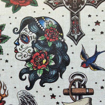 ameublement-coton-old-school-hirondelle-tatouage-rose