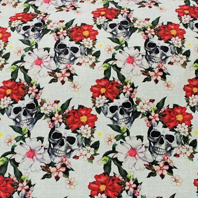 ameublement-coton-skulls-flowers-tete-de-mort-crane-fleurs-rouge